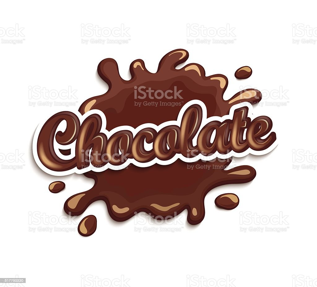 Chocolate drops and blot with lettering. vector art illustration