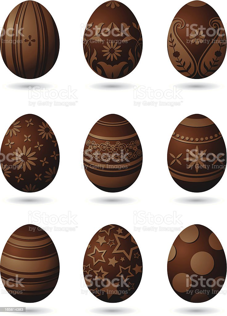Chocolate Easter eggs royalty-free stock vector art