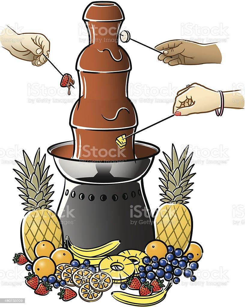 Chocolate Fountain C vector art illustration