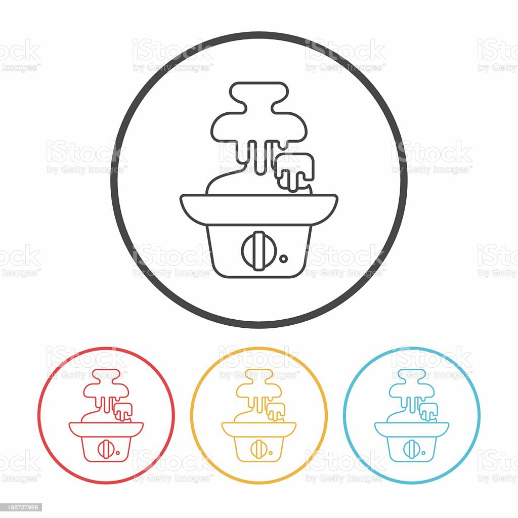 chocolate fountain line icon vector art illustration