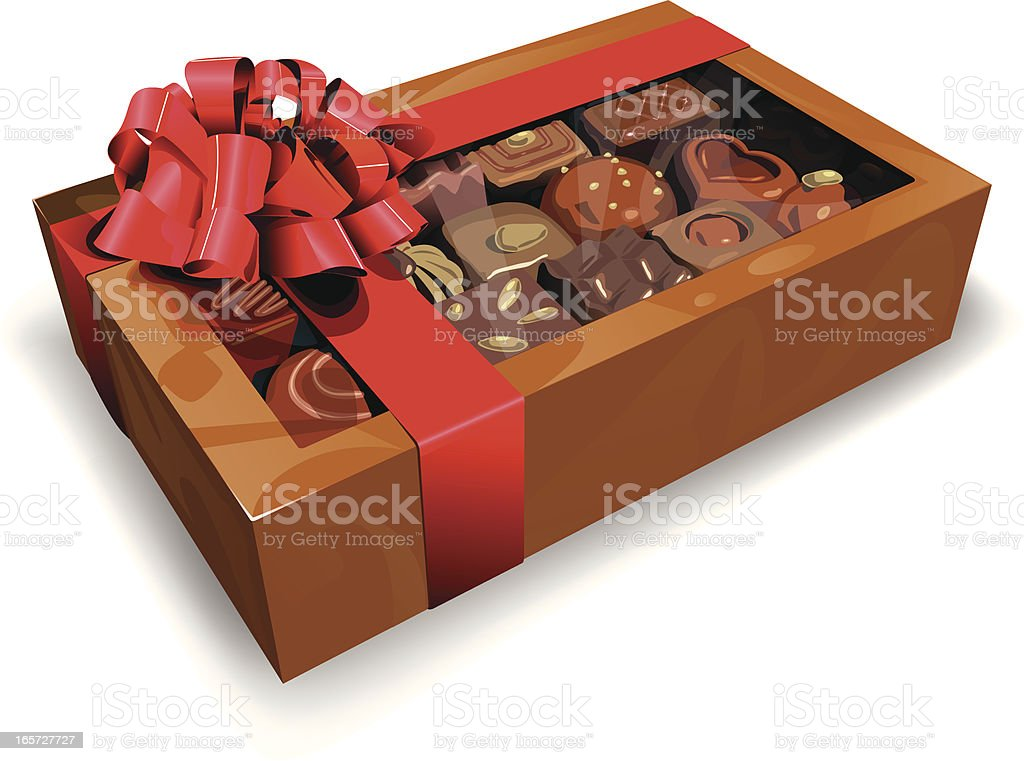 Chocolate gift vector art illustration