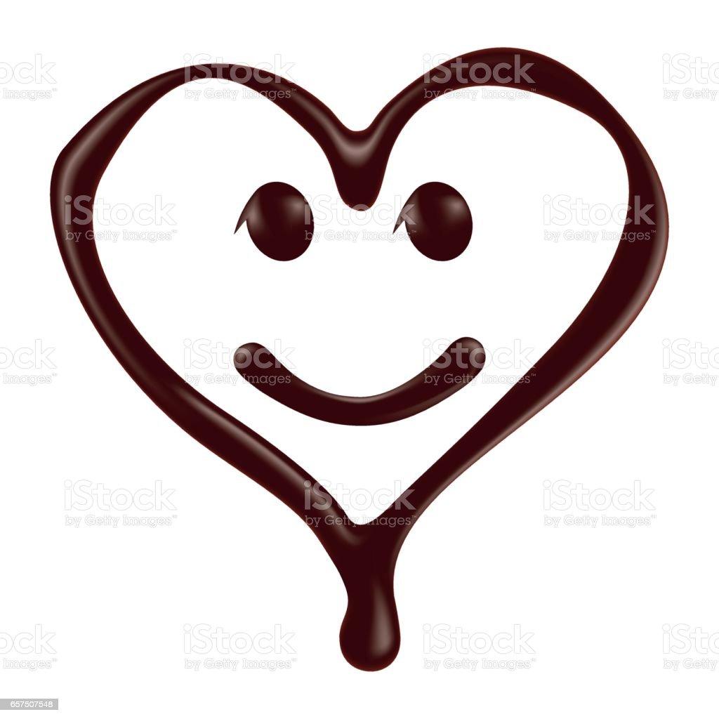 Chocolate heart shape smiley face on white background vector art illustration