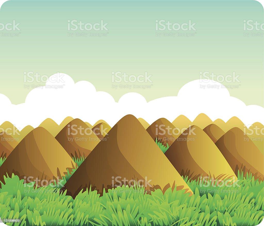 Chocolate Hills royalty-free stock vector art