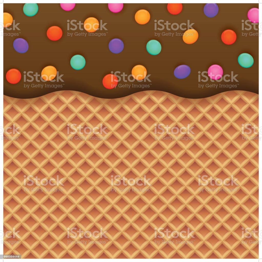 chocolate ice cream and wafer background vector art illustration