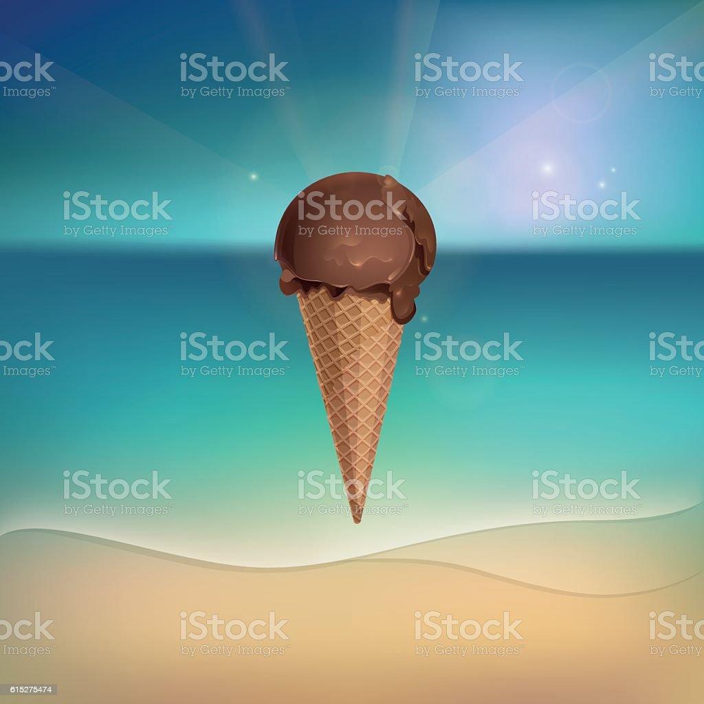 Chocolate ice cream on sunny beach vector art illustration
