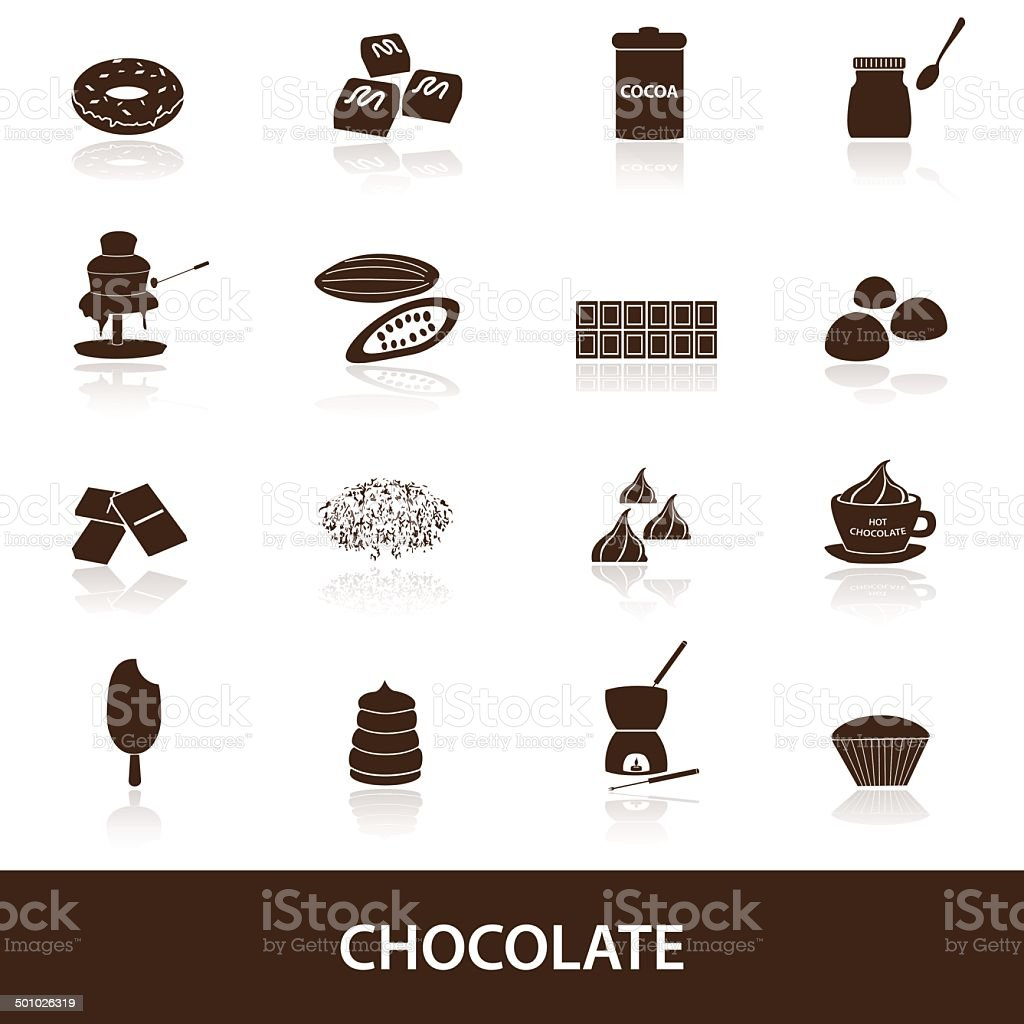 chocolate icons set eps10 vector art illustration