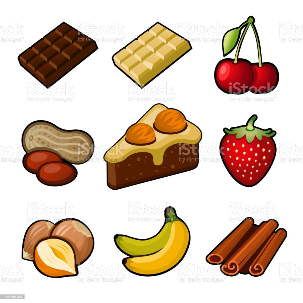 Chocolate icons set royalty-free stock vector art
