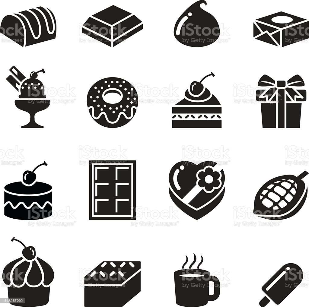 Chocolate Icons vector art illustration