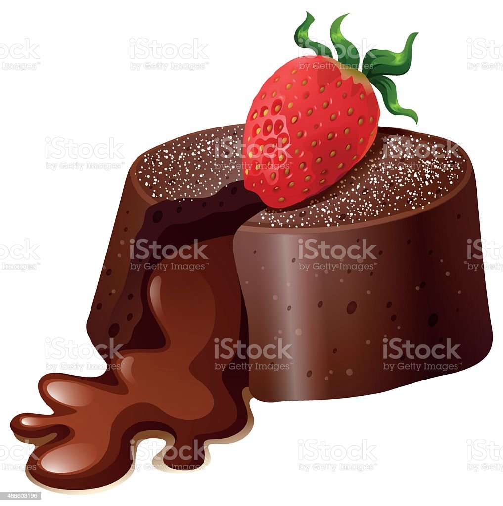 Chocolate lavacake with fresh strawberry vector art illustration