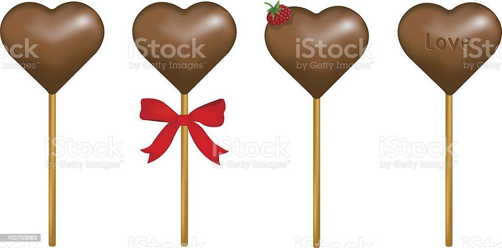 Chocolate lollipops royalty-free stock vector art