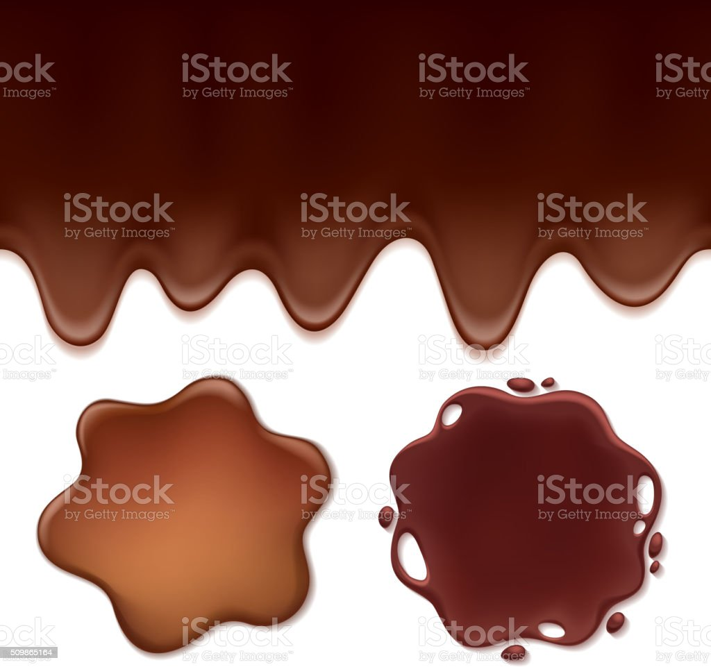 Chocolate melt set -blots and flowing drips vector art illustration