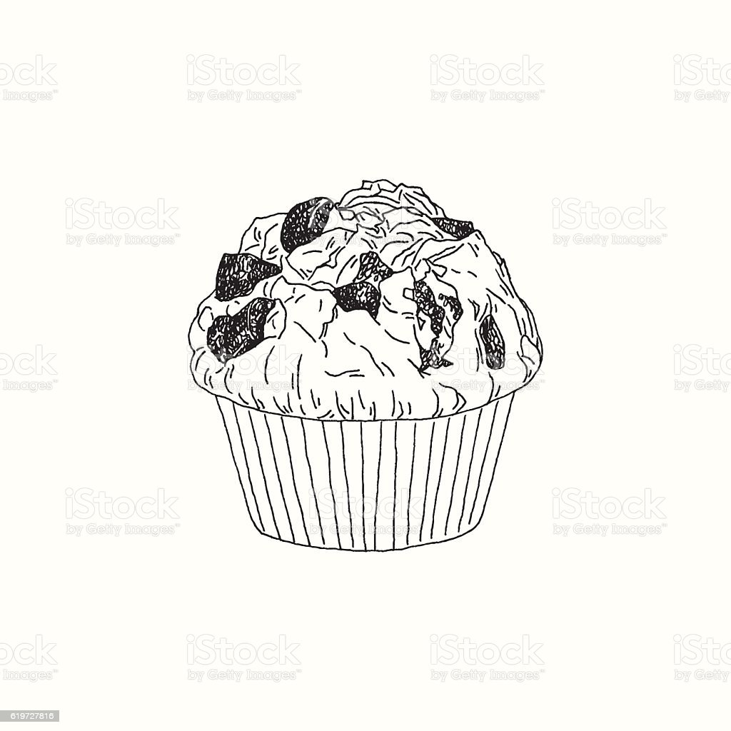 Chocolate Muffin Drawing vector art illustration