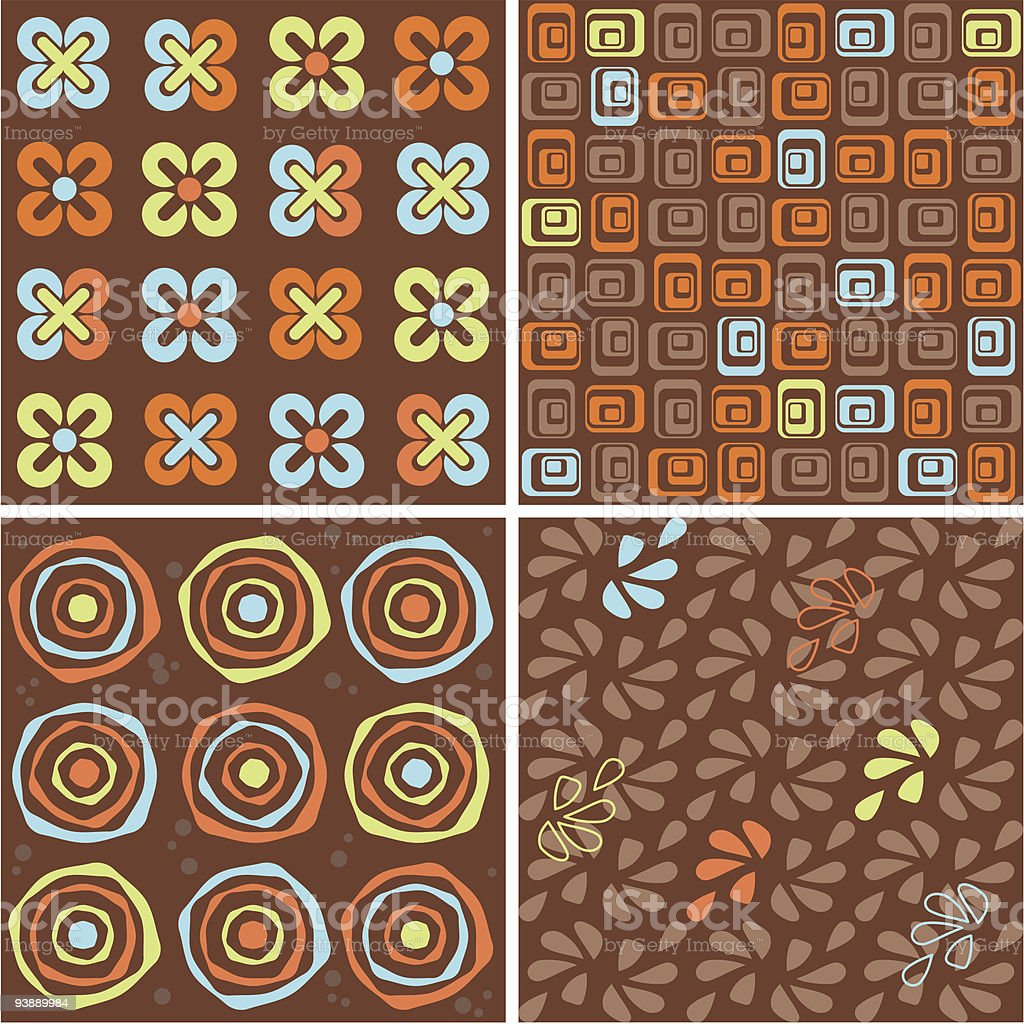 Chocolate , orange, cyan  and green seamless  collection royalty-free stock vector art