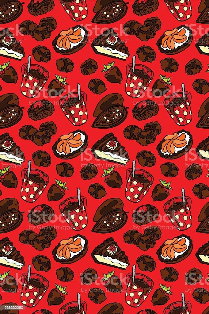 Chocolate pattern. Seamless vector pattern (background). vector art illustration