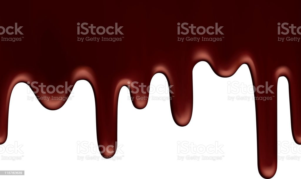 Chocolate running down on white background royalty-free stock vector art