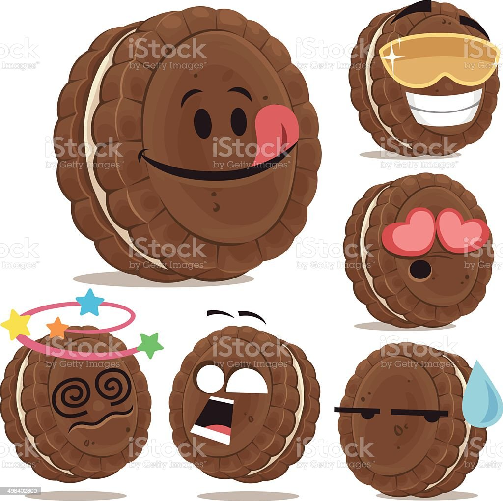 Chocolate Sandwich Cookie Cartoon Set A vector art illustration