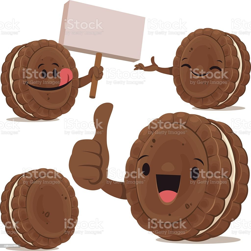 Chocolate Sandwich Cookie Cartoon Set C vector art illustration