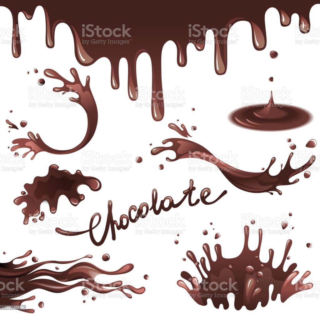 Chocolate splashes vector art illustration