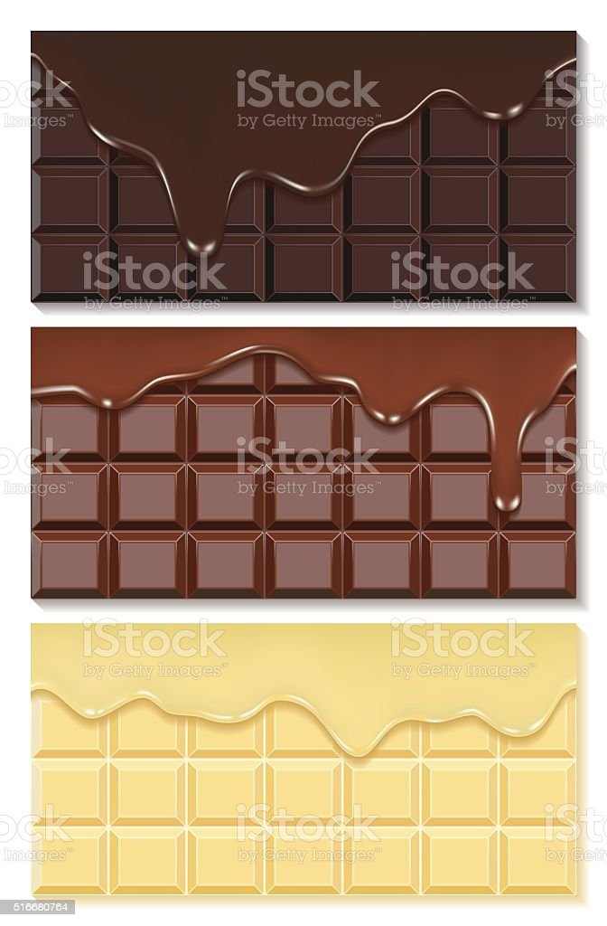 Chocolate Stream flows from chocolate bars vector art illustration