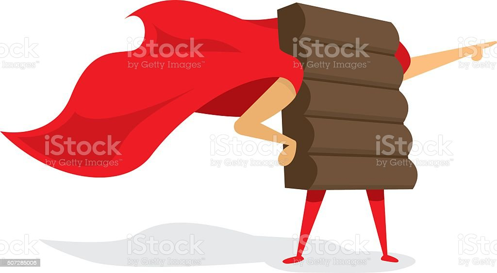 Chocolate super hero standing with cape vector art illustration