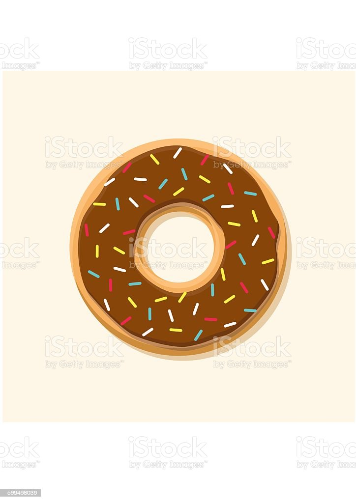 Chocolate sweet donut isolated on background. Yummy cookie food. vector art illustration