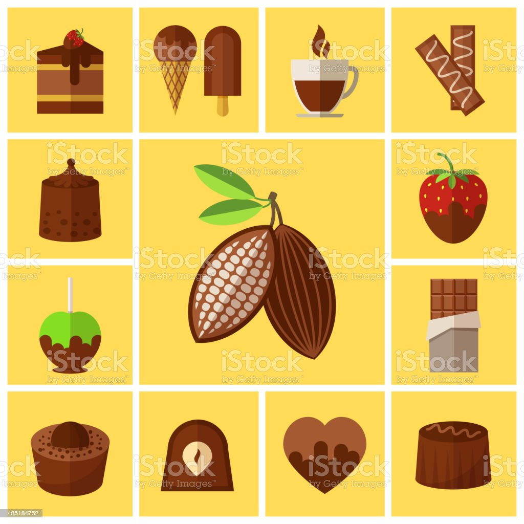Chocolate sweets, cakes and cocoa bean flat icons vector art illustration