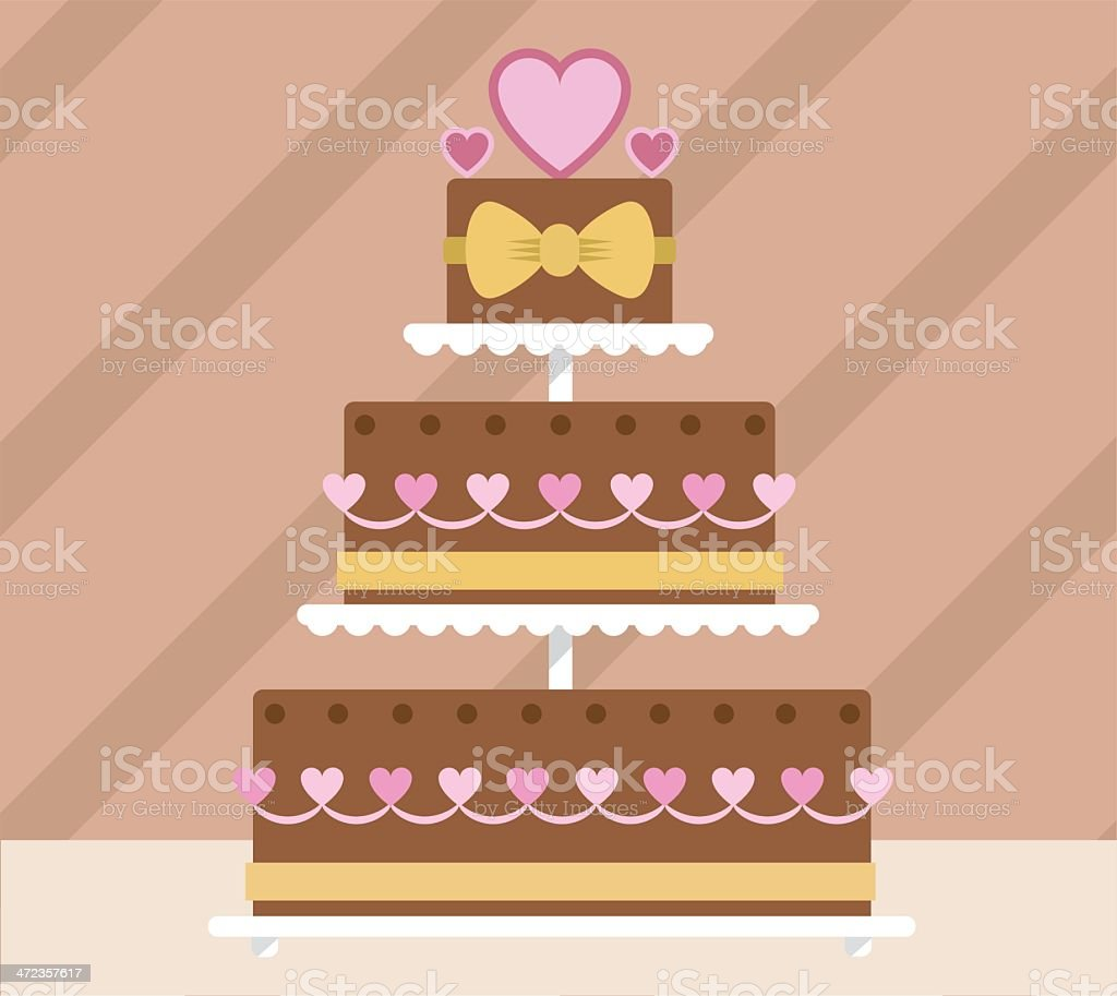 Chocolate tier wedding cake royalty-free stock vector art