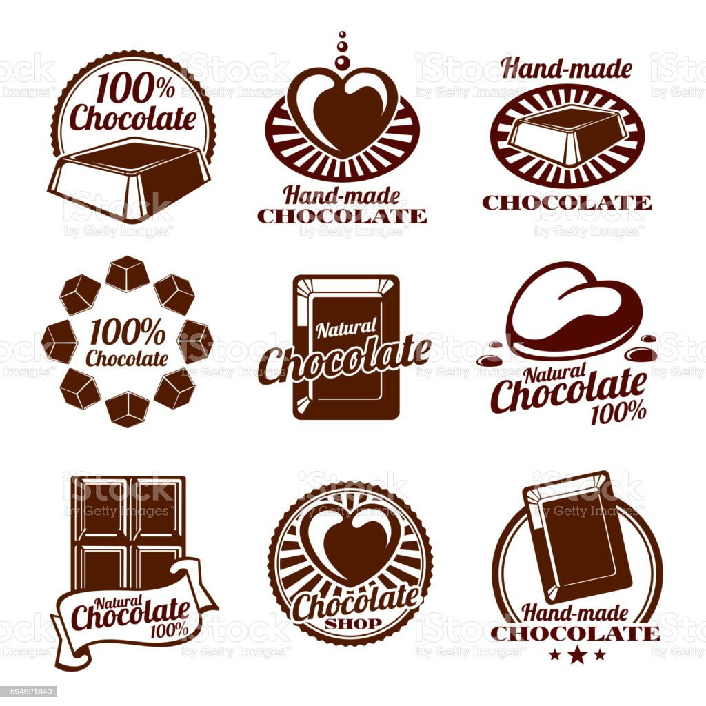 Chocolate vector logos, emblems and badges vector art illustration