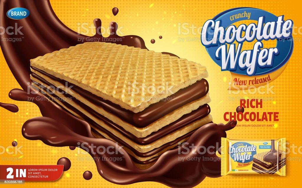 Chocolate wafer ads vector art illustration