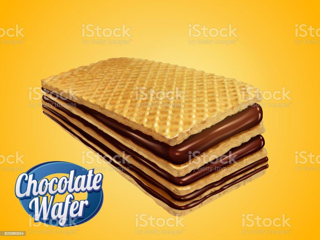 Chocolate wafer design element vector art illustration