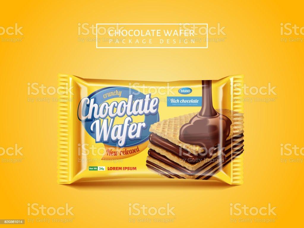 Chocolate wafer package design vector art illustration