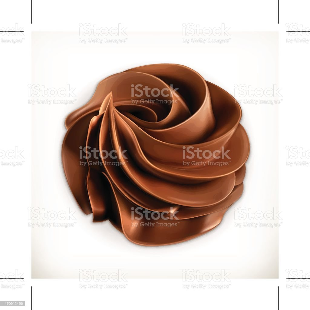Chocolate whipped cream, vector icon vector art illustration