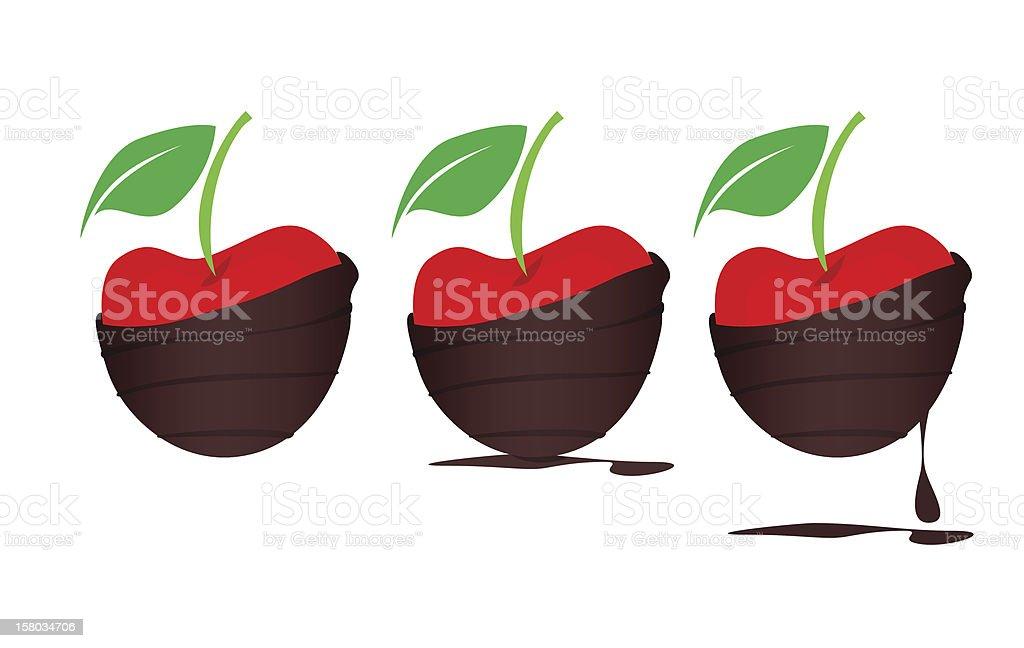 Chocolate-dipped Cherries vector art illustration