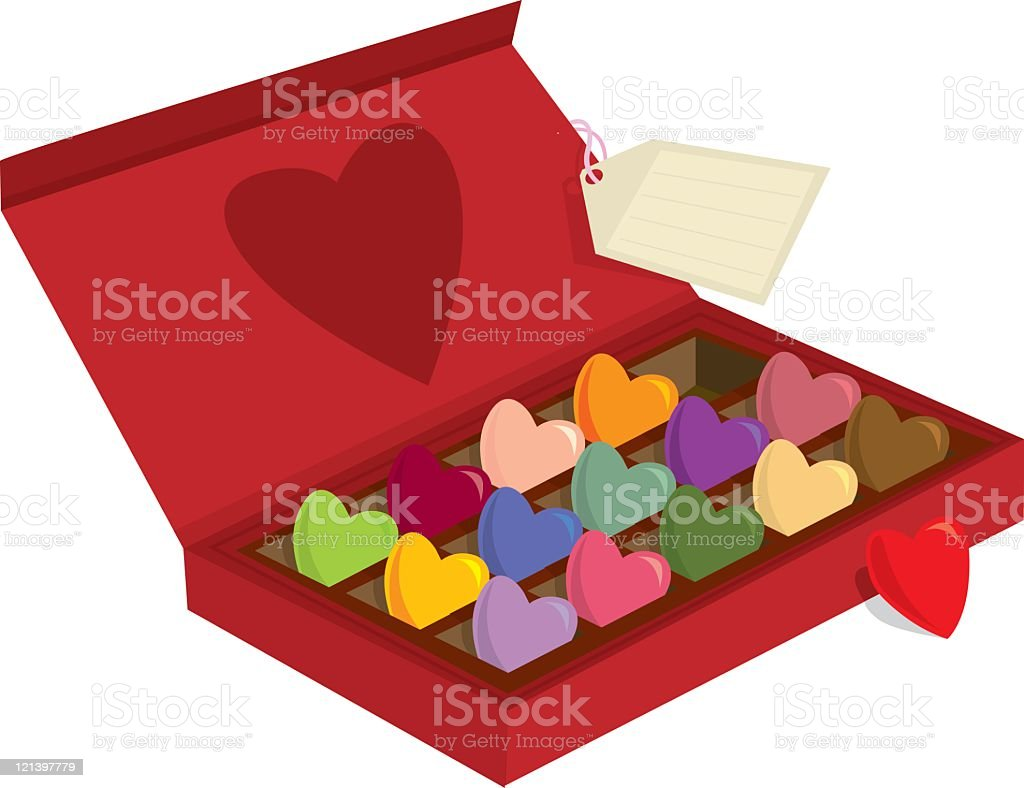 Chocolates in a red box with love heart royalty-free stock vector art