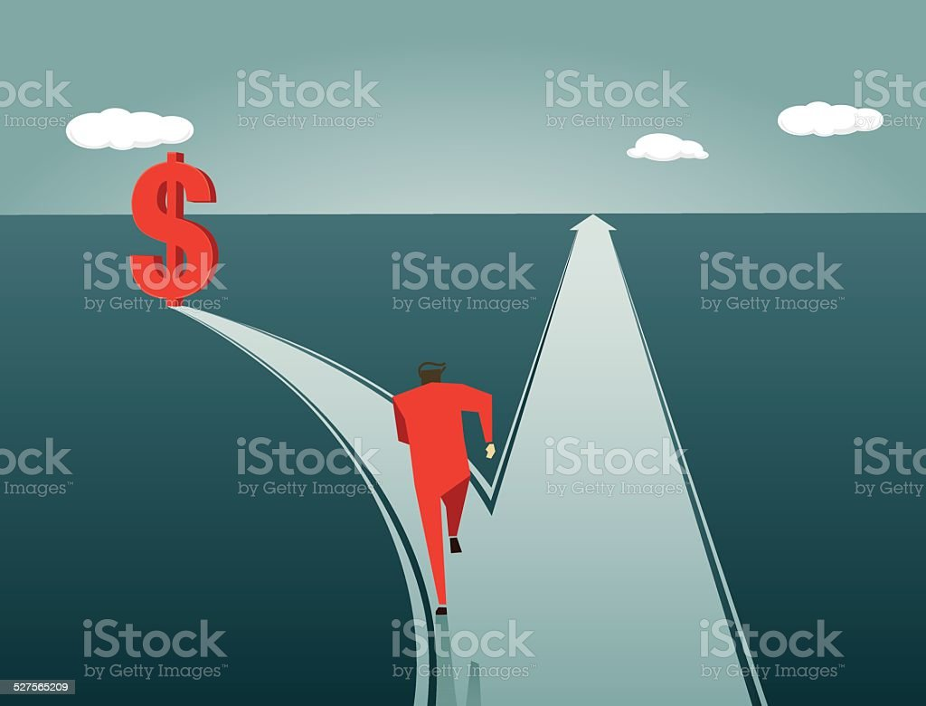 Choice, Direction,Trap, pitfall, Greed, Road Intersection vector art illustration