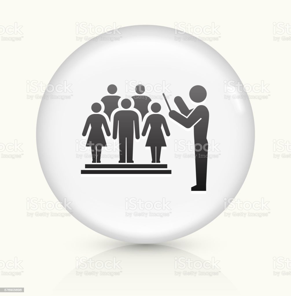 Choir and Director icon on white round vector button vector art illustration