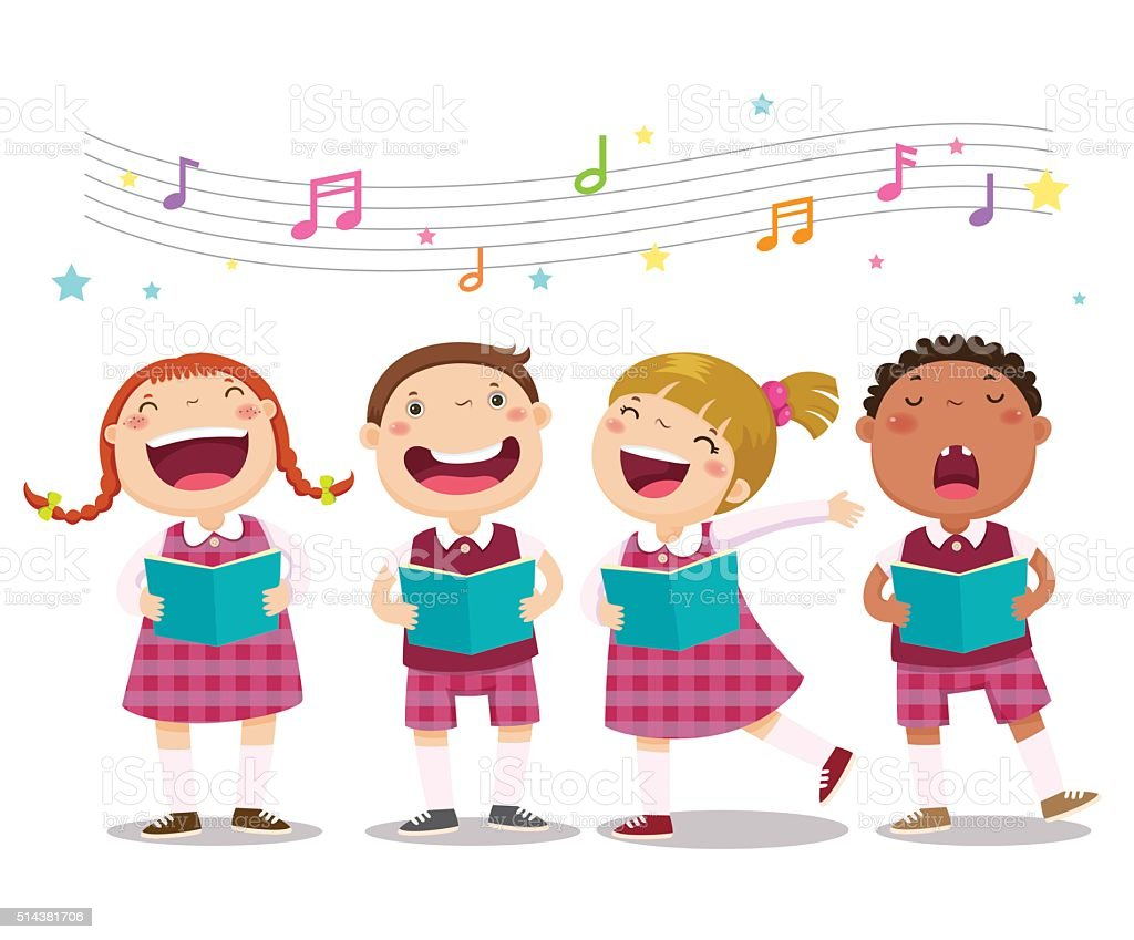 Choir girls and boys singing a song vector art illustration