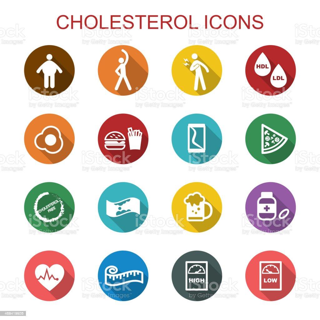 cholesterol long shadow icons vector art illustration