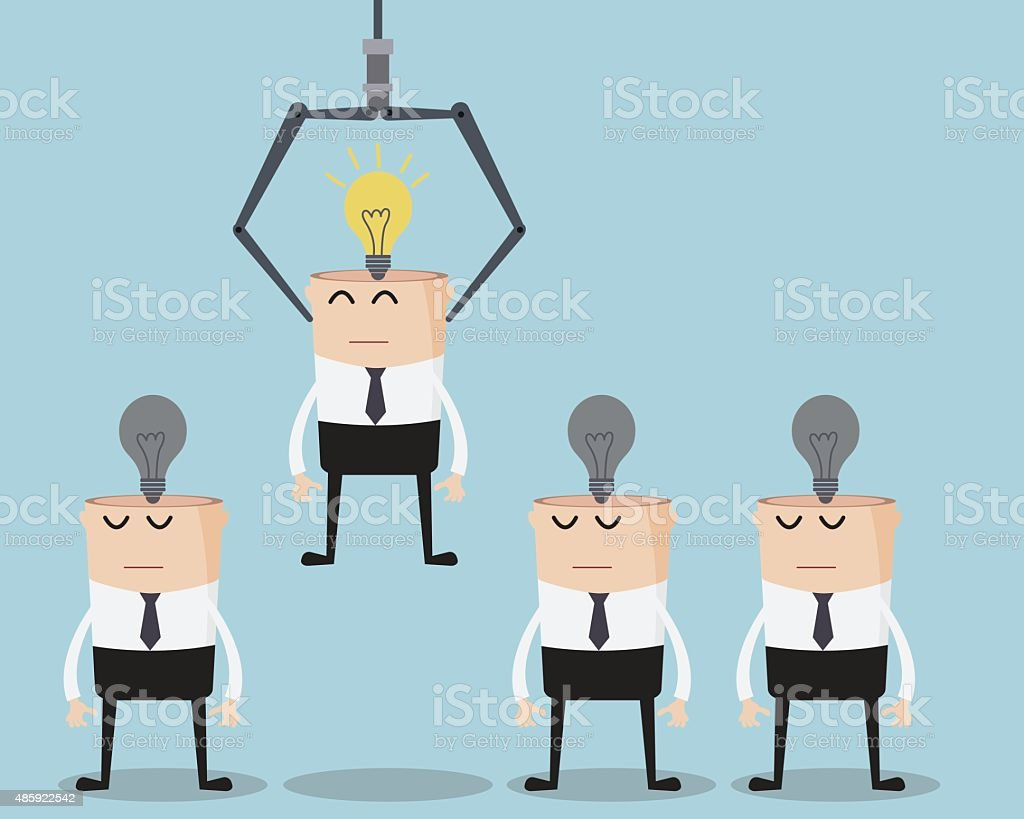 Choose Businessman One Have Bulb Idea On His Head vector art illustration