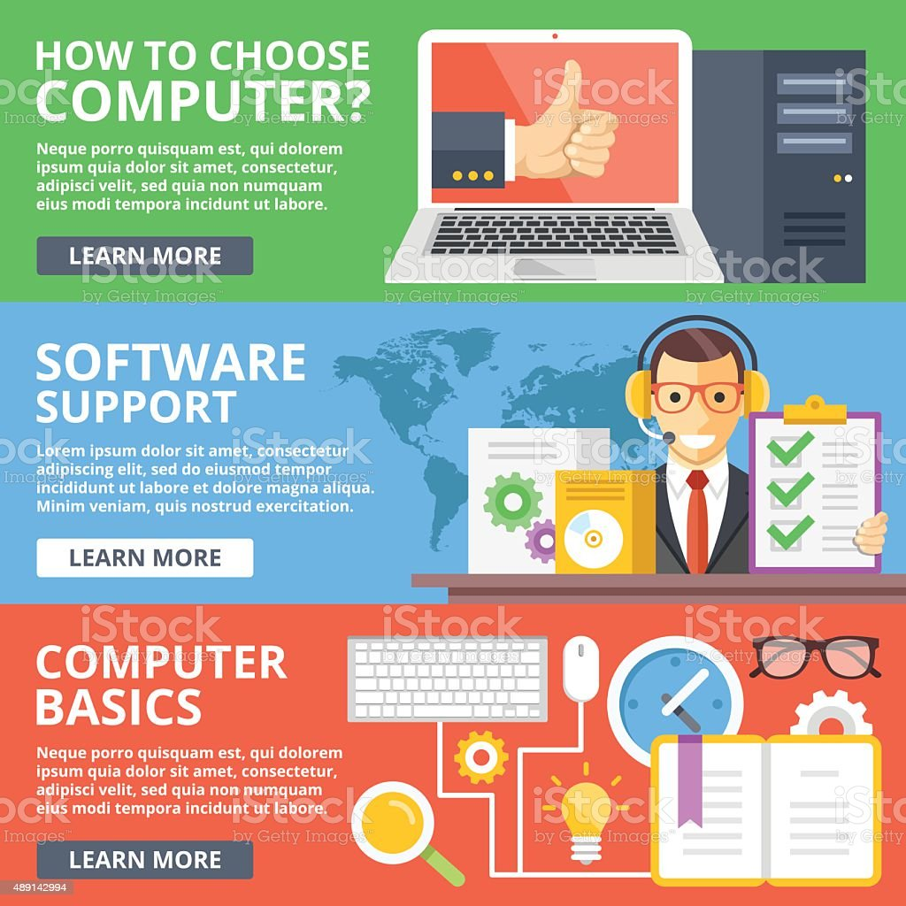 Choose computer, software support, computer basics flat illustration concepts set vector art illustration
