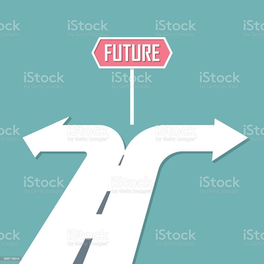 Choose path to Future. decision concept. Vector illustration vector art illustration