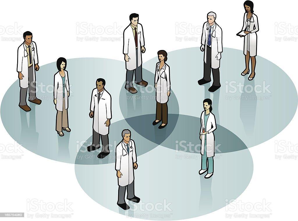 Choosing a Doctor vector art illustration