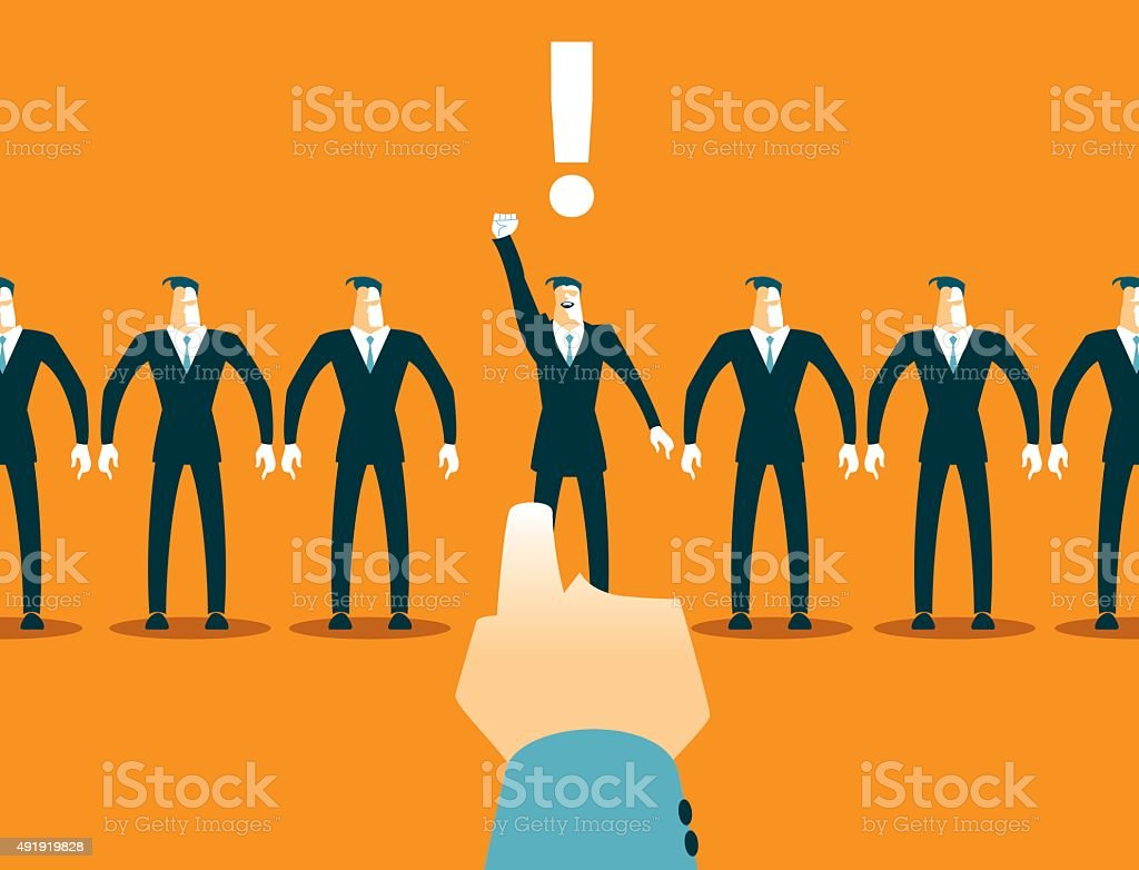 Choosing among the many employees. Recruitment vector art illustration