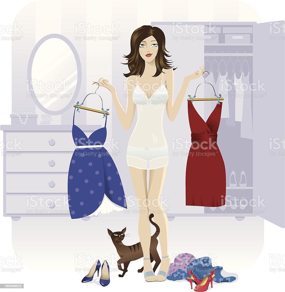 Choosing an outfit vector art illustration