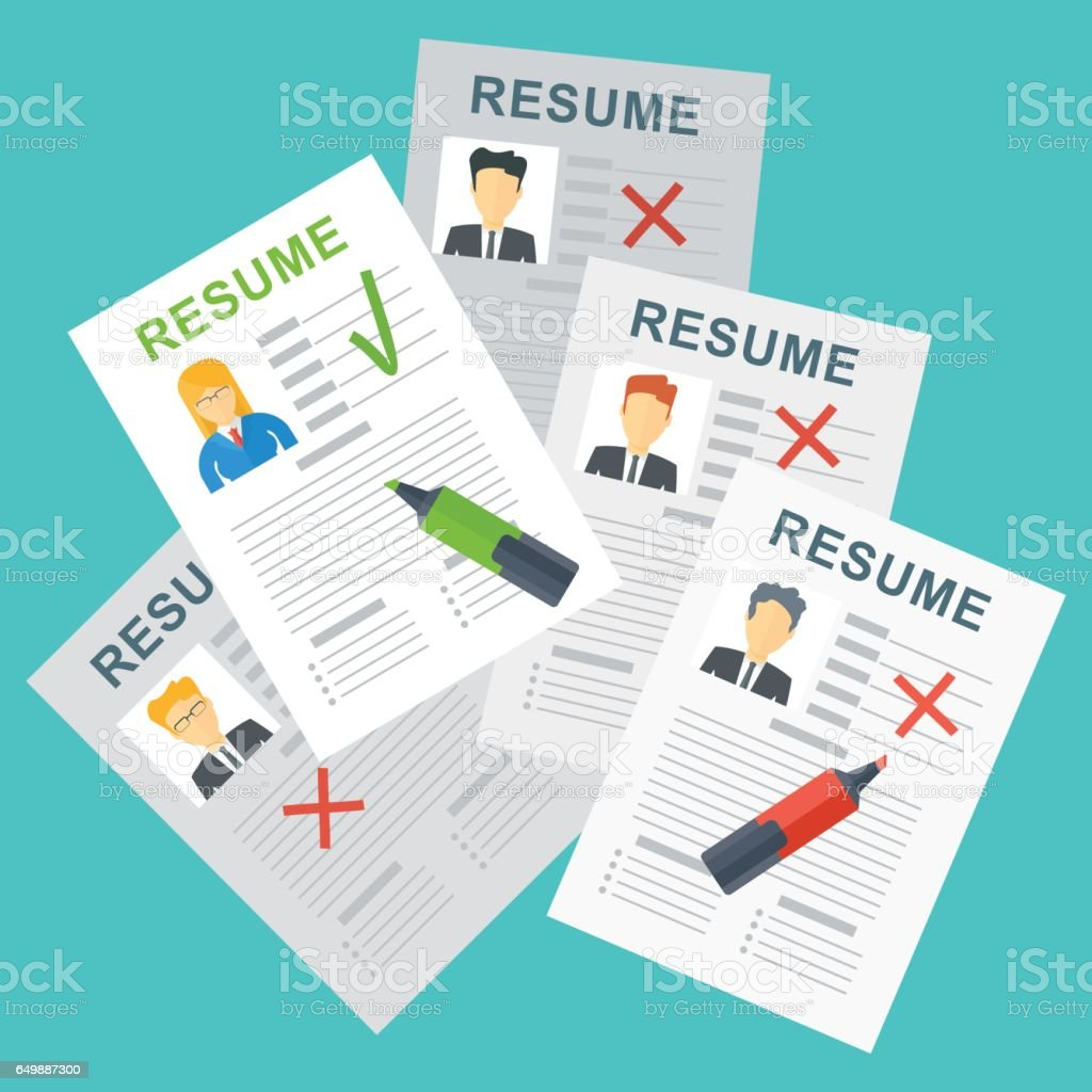 choosing best woman resume vector art illustration