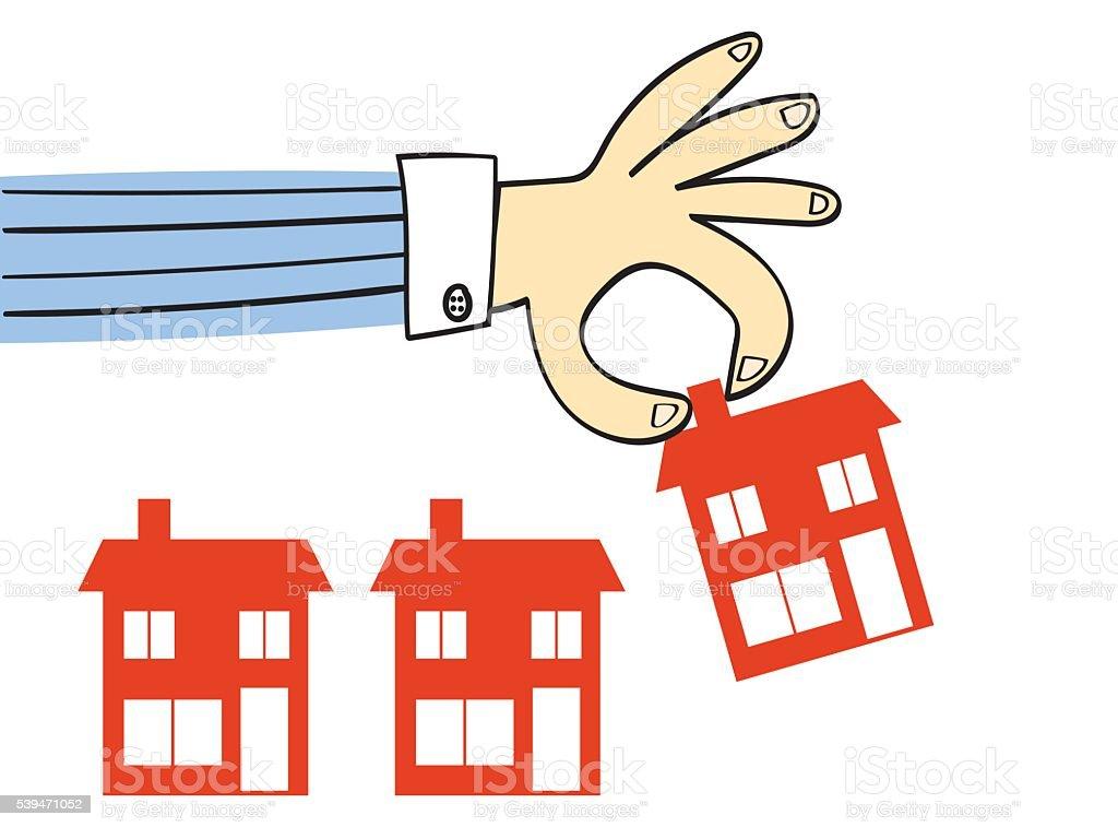 Choosing or Placing a Home vector art illustration