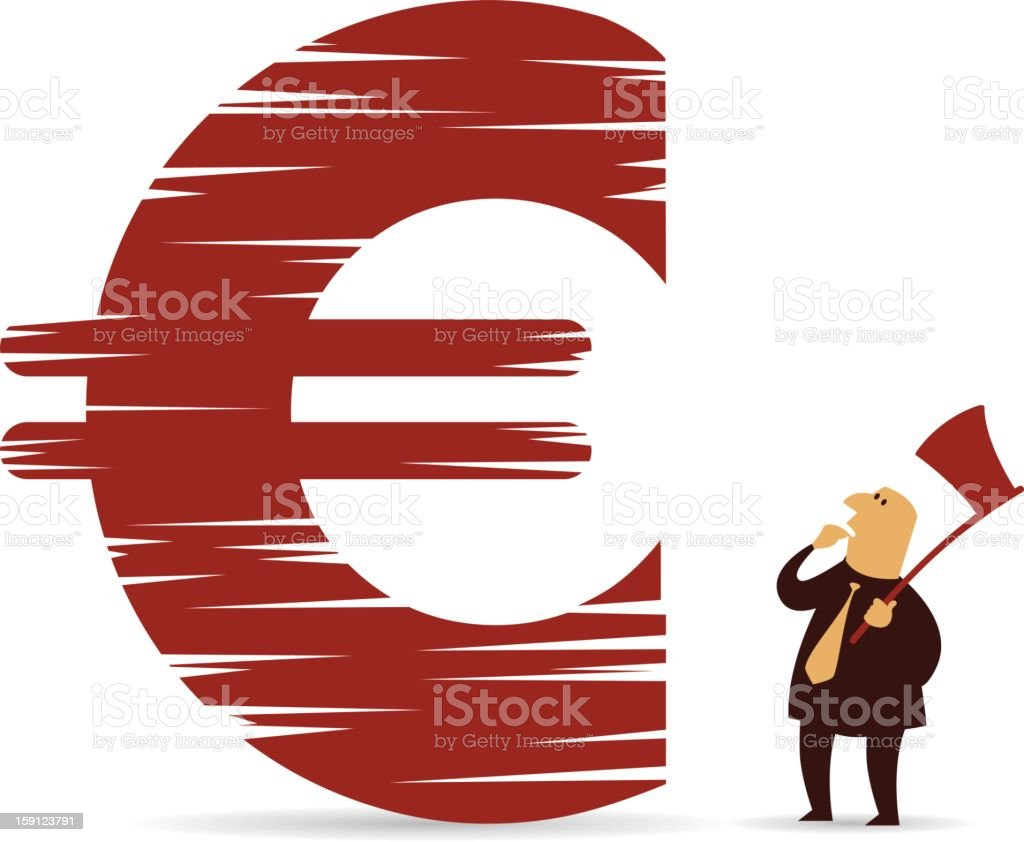 Chopped down Euro sign royalty-free stock vector art