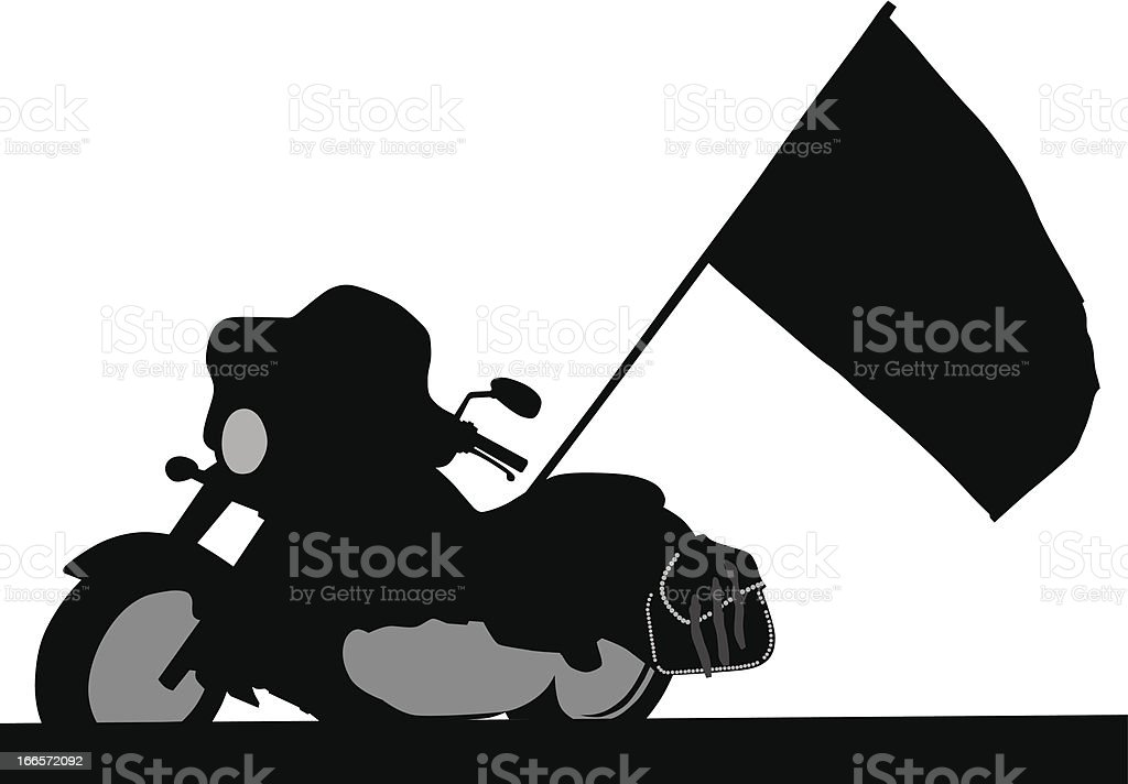 Chopper moto and flag royalty-free stock vector art