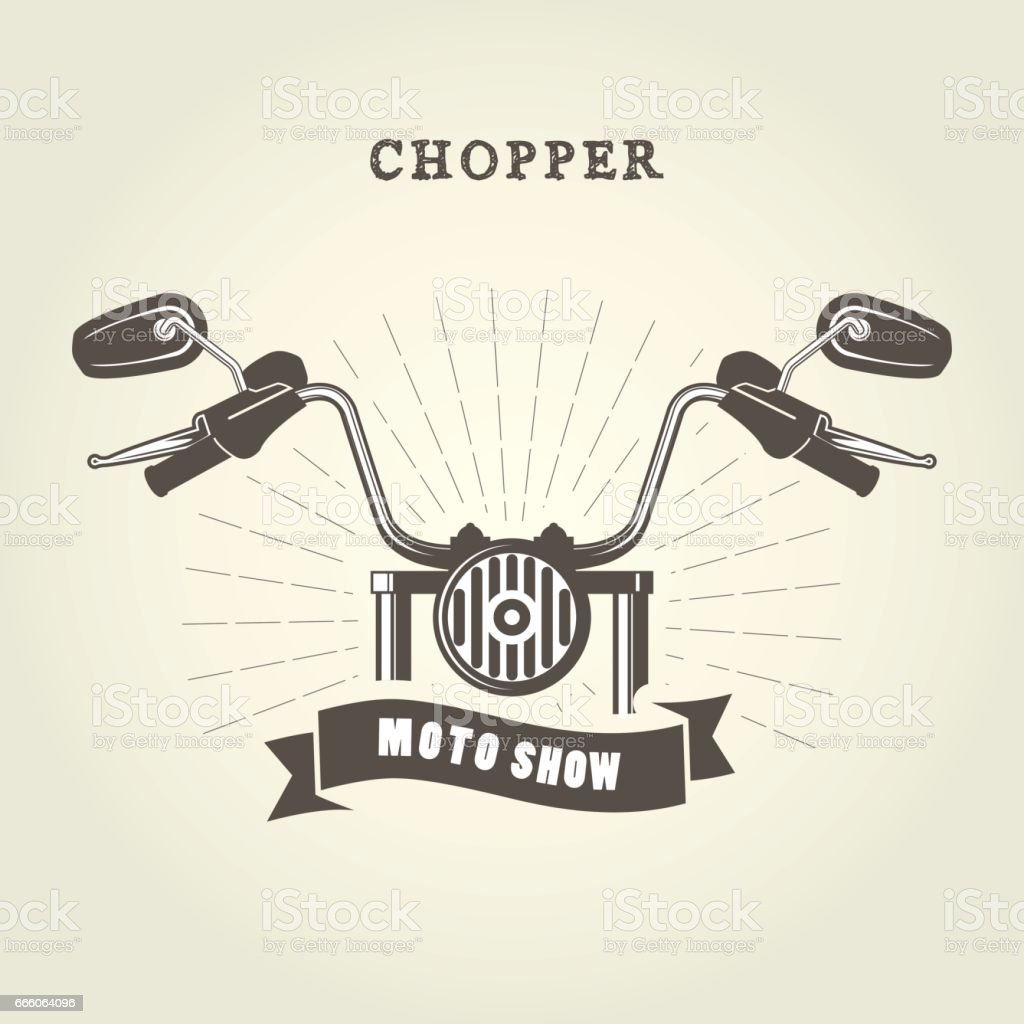 Chopper moto handlebar with rear-view mirrors vector art illustration