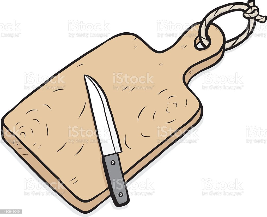 chopping block and knife vector art illustration
